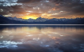 Картинка Nature, Clouds, Sky, Landscape, Water, Sunset, Mountains, Reflection lake