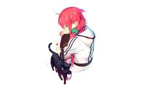 Картинка кот, девочка, красные волосы