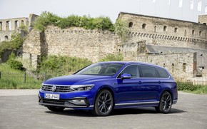 Картинка синий, Volkswagen, крепость, универсал, Passat, R-Line, Variant, 2019