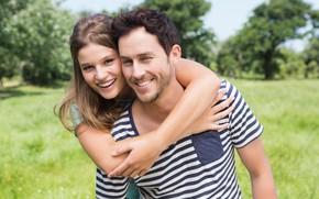 Картинка лето, девушка, счастье, природа, улыбка, пара, мужчина, влюбленные