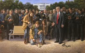 Обои ветеран, Вашингтон, президенты, сша, капитолий, Белый дом, Дональд Трамп, Трамп, Jon McNaughton 