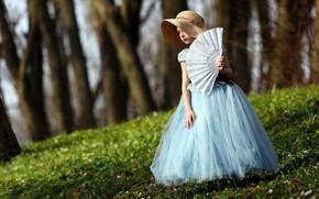Картинка склон, веер, девочка, шляпка