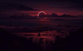 Картинка небо, закат, туман, край