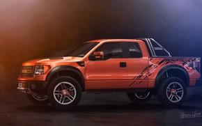 Картинка Ford, Авто, Машина, Внедорожник, Рендеринг, F-150, Вид сбоку, Оранжевый тюльпан, Transport & Vehicles, by Eric …