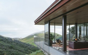 Картинка стекло, интерьер, камин, гостиная, Off-Grid Guest House, by Anacapa