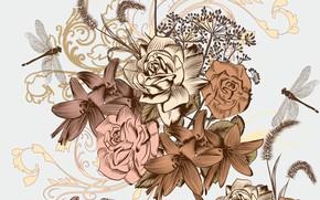 Картинка цветы, ретро, текстура, винтаж