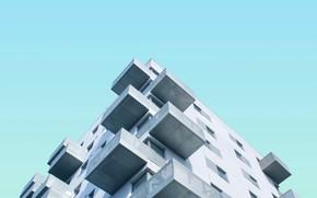Картинка небо, дом, здание, балкон, фасад, балконы