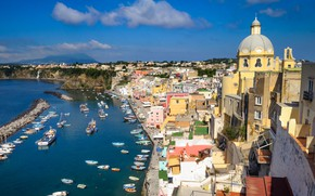 Картинка море, дома, Италия, собор, Прочида