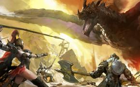 Картинка girl, Dragon, armor, battle, weapons, bow, artwork, warriors, fantasy art, arrows, archer, creature, helmet, spear, …