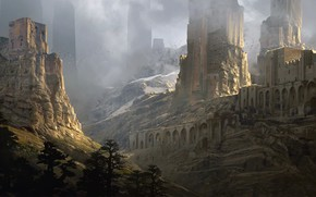 Картинка руины, Art, Fantasy landscape, Sentinels, Raphael Lacoste