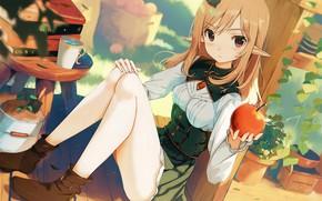 Картинка девушка, эльф, яблоко, yoshitake