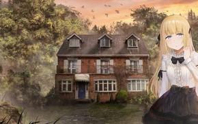 Картинка пейзаж, дом, девочка, особняк