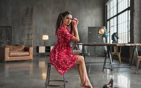 Картинка девушка, поза, стол, комната, платье, окно, сидит, Мария Волох