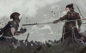 Картинка sword, rain, spear, centurion, armor, fantasy, warrior, artwork, weapons, digital art, samurai, soldier, fanyasy art, …