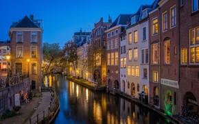 Картинка здания, дома, канал, Нидерланды, ночной город, набережная, Netherlands, Utrecht, Утрехт, Old Canal, Oudegracht, Канал Аудеграхт, …