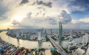 Картинка мост, город, река, Тайланд, Бангкок