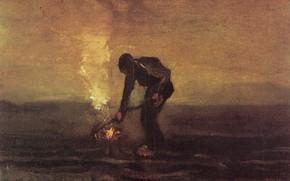 Картинка Винсент ван Гог, мужчина и костёр, Peasant Burning Weeds