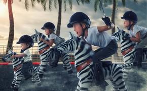 Картинка дети, гонка, зебры