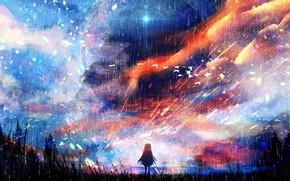 Картинка небо, природа, дождь, девочка
