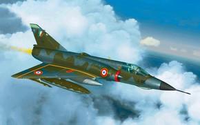 Картинка art, airplane, painting, aviation, Mirage 3e