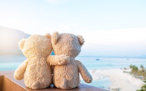 Обои песок, море, пляж, любовь, игрушка, медведь, мишка, пара, love, двое, beach, bear, sea, romantic, sand, ...