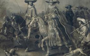 Картинка масло, картина, холст, 1628, Адриан ван де Венне, Adriaen van de Venne, и Его Жена …