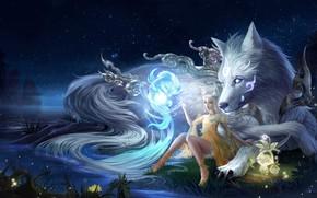 Картинка Вода, Девушка, Ночь, Собака, Существо, Река, Берег, Стиль, Girl, Магия, Волк, Fantasy, Dog, Арт, Art, …