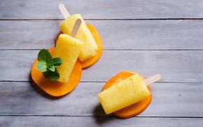 Картинка мороженое, персики, peach, ice cream, фруктовый лед