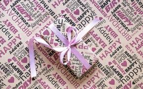 Обои праздник, коробка, подарок, лента, box, pink, paper, cute, Present, Birthday