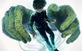 Картинка аниме, руки, арт, парень, школьник, Mob Psycho 100, Кагеяма Шигео, Моб психо 100