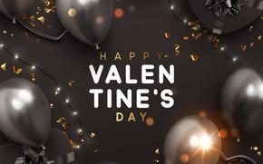 Картинка шарики, серый, фон, надпись, подарки, сердечки, золотой, Valentines Day
