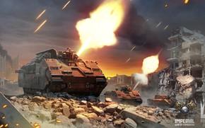 Картинка огонь, техника, руины, Imperial - War of Tomorrow, city battle