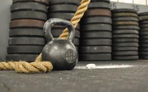 Картинка Канат, Kettlebell, Кроссфит, Гиря, Гиря 32 кг, Спортивная гиря