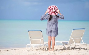 Картинка пляж, лето, океан, девочка, шляпка