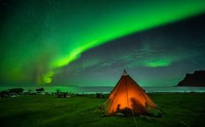 Картинка ночь, сияние, палатка