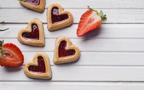 Картинка ягоды, клубника, выпечка, Печенье