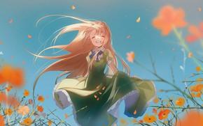 Картинка девушка, цветы, улыбка