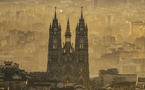 Картинка панорама, собор, Эквадор, Кито