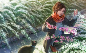 Картинка кошка, кот, девушка, цветы, живопись, клумба, кусты