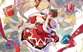 Картинка новый год, подарки, рожки, Barbara, Genshin Impact
