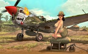 Обои Девушка, лётчик, WWII, P-40N, боевой самолёт, авиабомба, подвесной топливный бак, ''Lulu Belle''