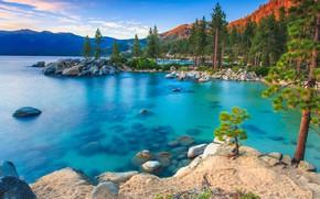 Картинка USA, sky, trees, landscape, nature, mountains, clouds, lake, rocks, sand, sunrise, Nevada, stones, Lake Tahoe, …