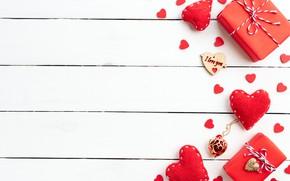 Картинка любовь, сердце, подарки, сердечки, красные, red, love, romantic, hearts, valentine's day, gift box