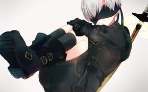 Картинка фон, меч, мальчик, повязка на глаза, Nier Automata, YoRHa No 9 Type S