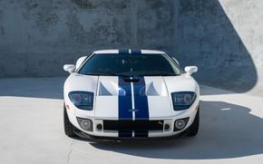 Картинка White, Спорткар, Американский автомобиль, 2005 Ford GT