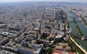 Картинка река, Париж, дома, мосты