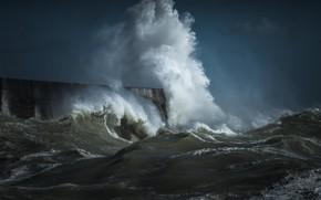 Картинка море, волны, небо, брызги, шторм, волна, волнорез