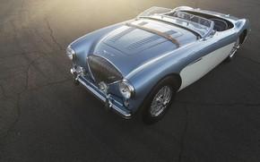 Картинка car, blue, retro, austin-healey 100M