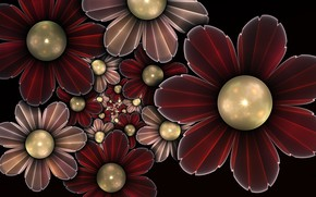 Картинка Цветы, Красные, Бусины