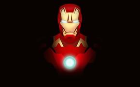 Картинка красный, Iron Man, Железный человек, арт, комикс, Tony Stark, черный фон, MARVEL, фантастика, костюм
